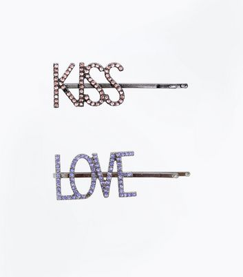 Metallic Embellished Slogan Hair Grips New Look