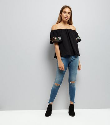 Cameo Rose Black Embroidered Bardot Top New Look