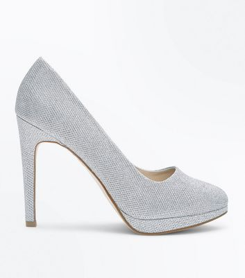 Silver Glitter Platform Court Shoes