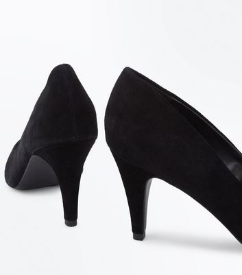 Black Suede Cone Heel Courts New Look