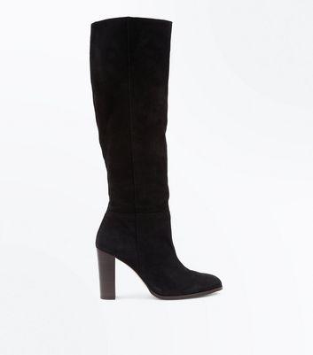 Black Premium Suede Knee High Boots New Look