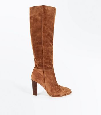 Tan Premium Suede Knee High Boots New Look