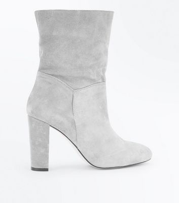 Grey Premium Suede Calf Slouch Boots New Look