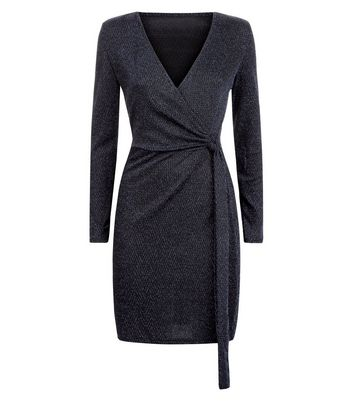 Blue Vanilla Black Glitter Chevron Wrap Dress New Look