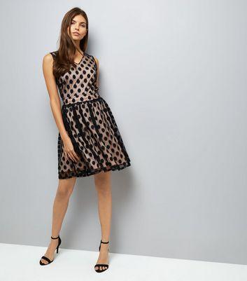 Mela Black Spot Mesh Overlay Dress New Look