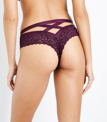 Dark Purple Cross Strap Lace Brazilian Briefs New Look