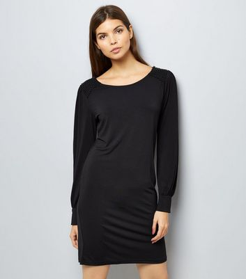 Mela Black Beaded Shoulder Dress New Look
