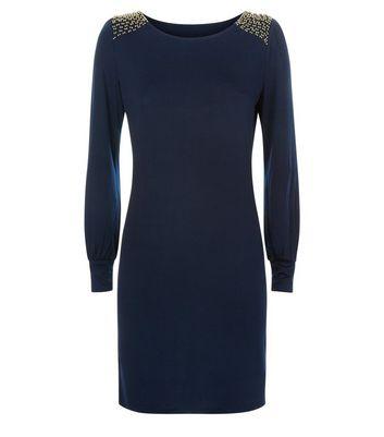 Mela Navy Beaded Shoulder Dress New Look