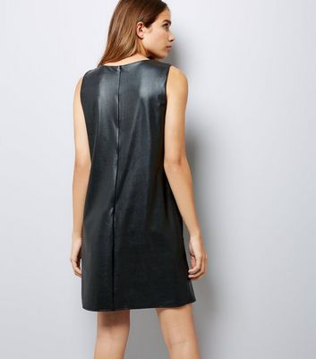 Mela Black Leather-Look Shift Dress New Look