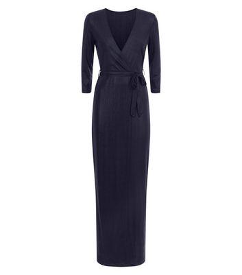 Mela Black Shimmer Wrap Maxi Dress New Look