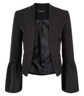 Black Frill Sleeve Trim Cropped Blazer New Look