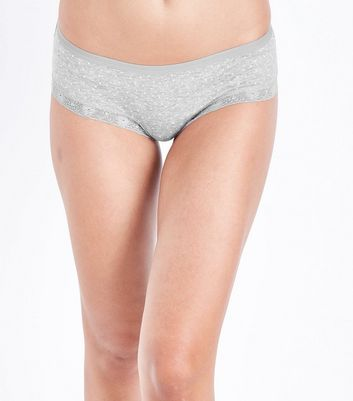 3 Pack Grey Pink and Navy Glitter Short Briefs New Look