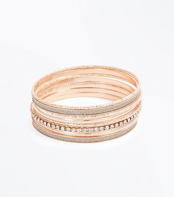 Rose Gold Diamante Bangle Pack New Look