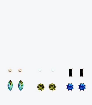 6 Pack Gold Gem Embellished Stud Earrings New Look