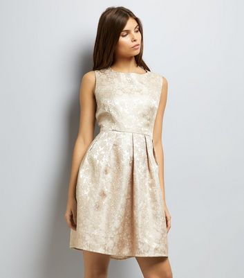 Mela Gold Floral Embossed Skater Dress New Look