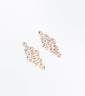 Rose Gold Gem Embellished Chandelier Earrings New Look