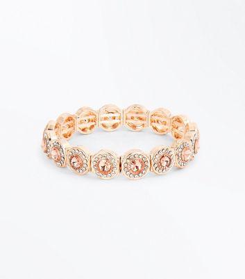 Rose Gold Diamante Embellished Bracelet New Look