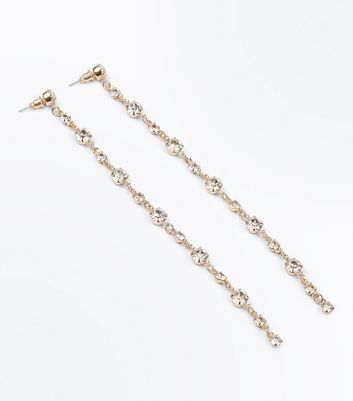 Gold Diamante Embellished Shoulder Duster Earrings New Look