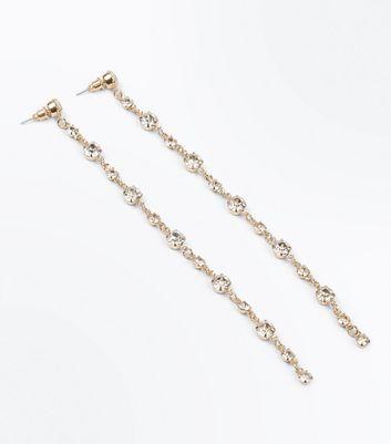 Gold Diamante Embellished Shoulder Duster Earrings New Look