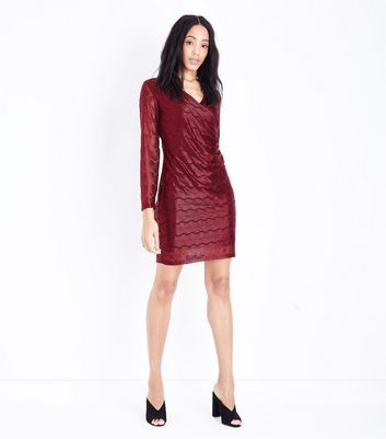 Mela Burgundy Chain Lace Wrap Front Dress New Look