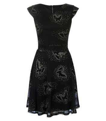 Mela Black Glitter Butterfly Print Mini Dress New Look