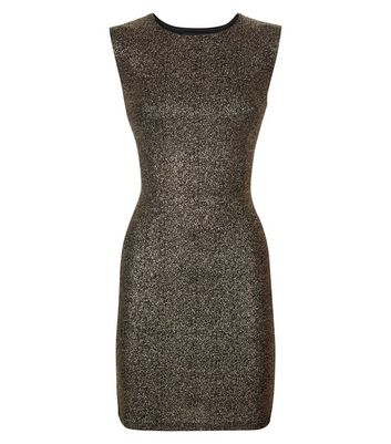 Mela Bronze Glitter Sleeveless Bodycon Dress New Look