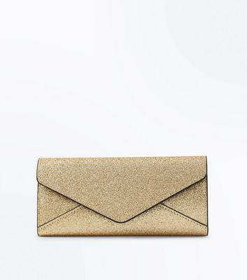 Gold Glitter Envelope Purse New Look
