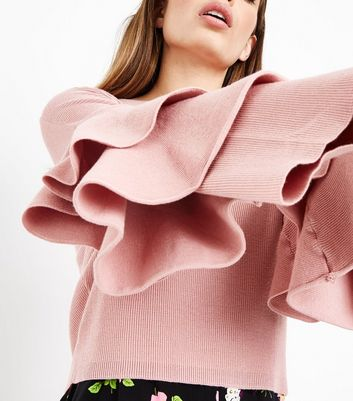 Pink Tiered Sleeve Ribbed Jumper New Look