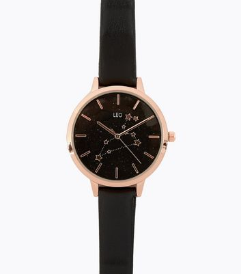 Black Strap Leo Star Sign Watch