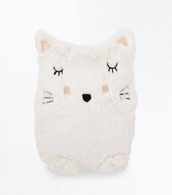 White Sleepy Cat Hot Water Bottle New Look