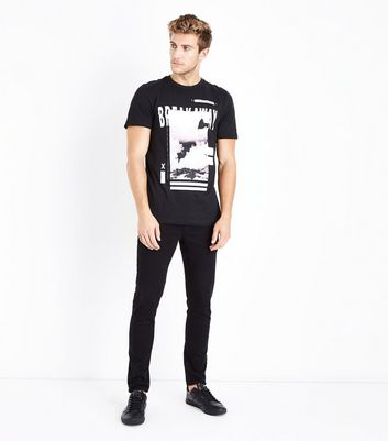 Black Breakaway Print T-Shirt New Look