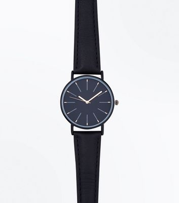 Black Skinny Strap Watch New Look