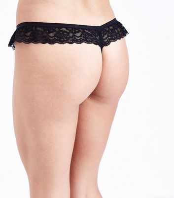 Black Lace Frill Thong New Look