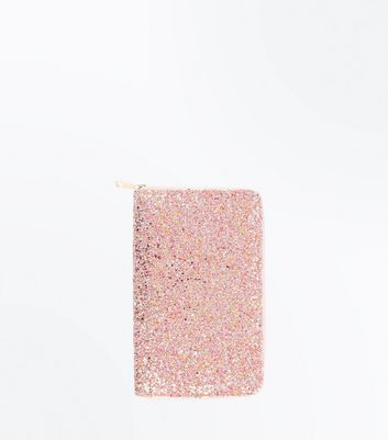 Pink Glitter Travel Wallet New Look