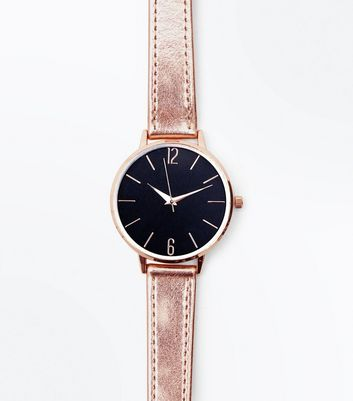 Rose Gold Metallic Strap Contrast Face Watch New Look