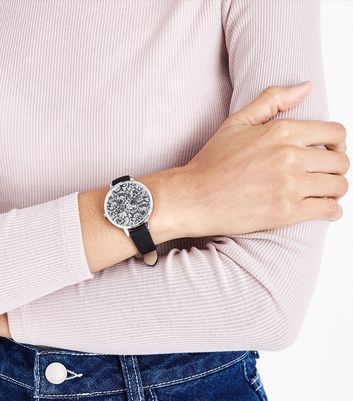 Black Floral Lace Dial Watch New Look