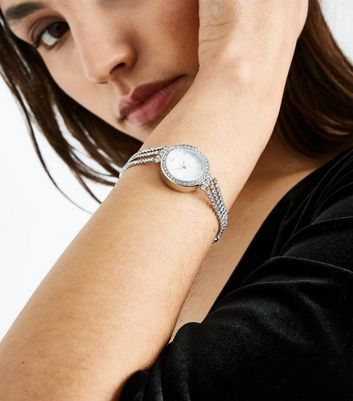Silver Diamante Cupchain Bracelet Watch New Look