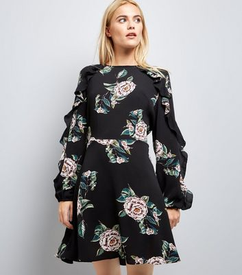 AX Paris Black Floral Print Frill Sleeve Dress New Look