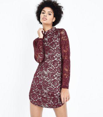 AX Paris Dark Red Lace Bodycon Dress New Look