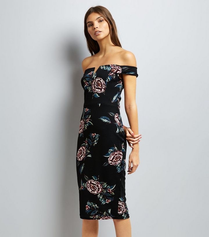 fafcf4e88a3f AX Paris Black Floral Print Bardot Dress | New Look