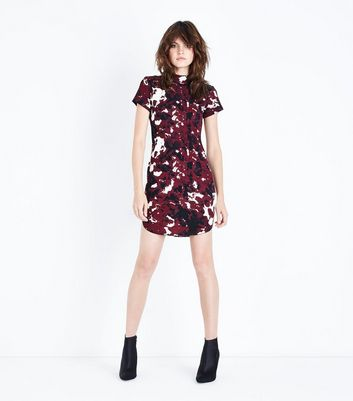 AX Paris Burgundy Abstract Print Bodycon Dress New Look