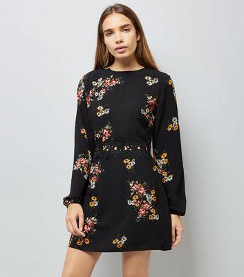 AX Paris Black Floral Print Crochet Waist Dress New Look