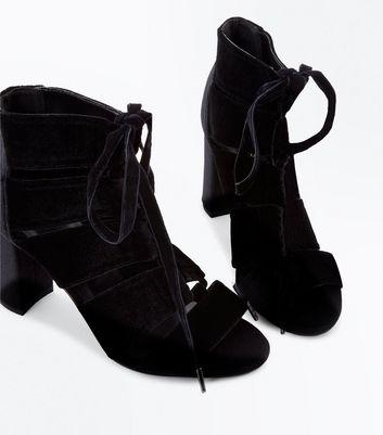 Black Velvet Block Heel Gladiator Sandals New Look