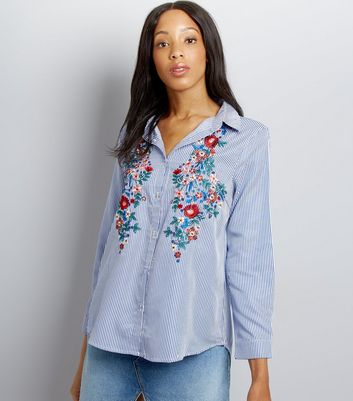 Cameo Rose Blue Stripe Floral Embroidered Shirt New Look