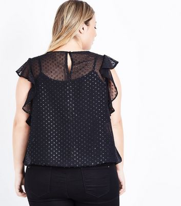 Curves Black Glitter Spot Frill Sleeve Blouse New Look
