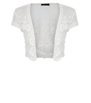 Cream Floral Lace Mesh Cropped Cover Up New Look