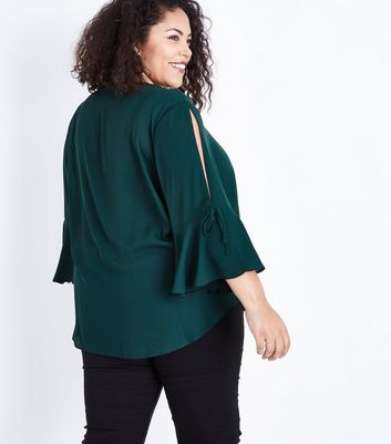 Curves Dark Green Wrap Front Bell Sleeve Blouse New Look