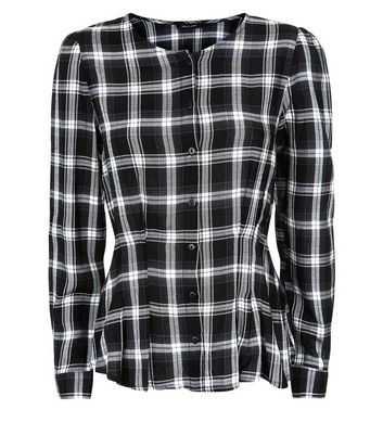 Black Check Pleat Waist Shirt New Look