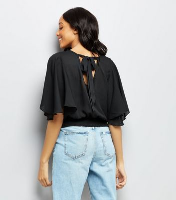 Black Shirred Hem Flutter Sleeve Top New Look