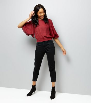 Burgundy Shirred Hem Flutter Sleeve Top New Look